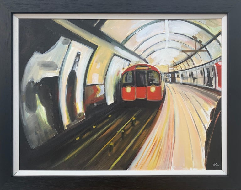 Angela Wakefield Interior Painting - Original Painting of the London Underground by Contemporary Urban Artist