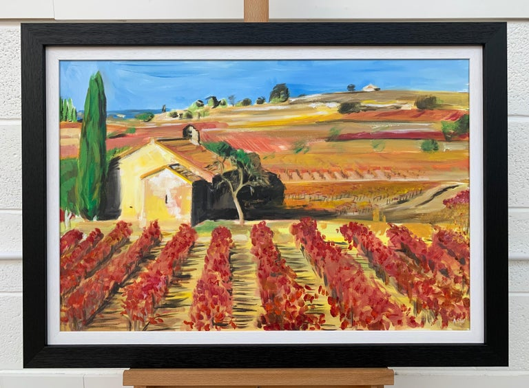 Painting of Vineyard in Wine Growing Bordeaux France by Modern British Artist For Sale 1
