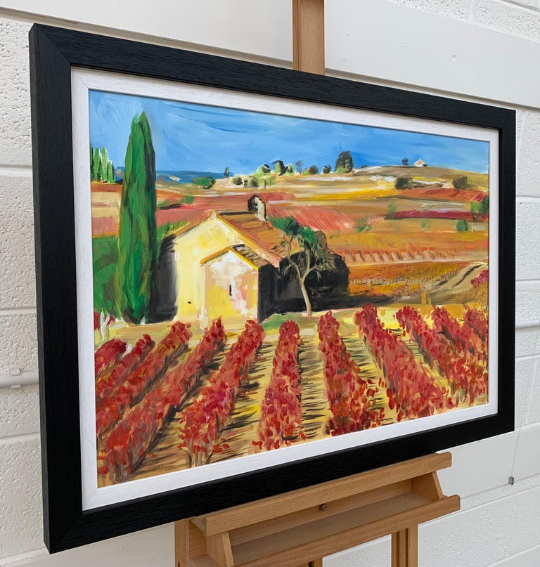 Original Painting of a Vineyard in the Wine-Growing Region of Bordeaux, France, by leading British Contemporary Landscape Artist, Angela Wakefield. During 2012, Angela embarked upon her European Series, which initially focuses on the unique