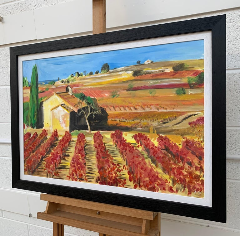Painting of Vineyard in Wine Growing Bordeaux France by Modern British Artist For Sale 2