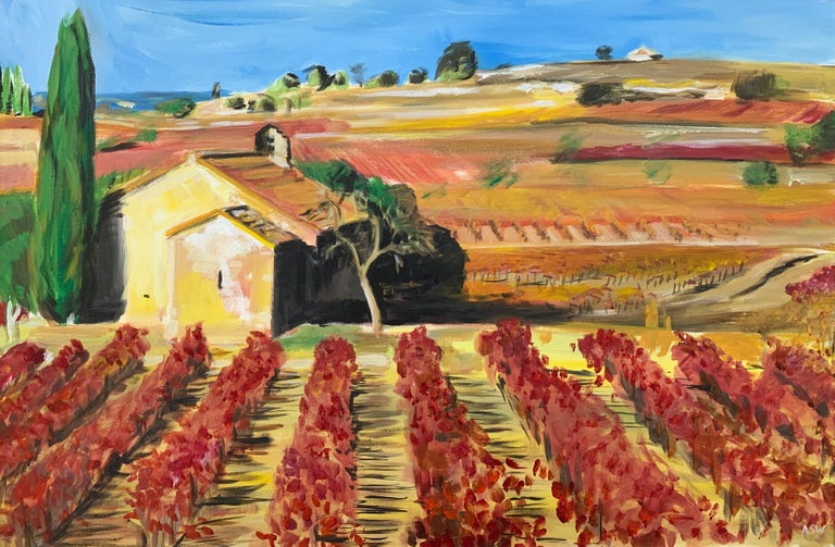 Painting of Vineyard in Wine Growing Bordeaux France by Modern British Artist For Sale 3