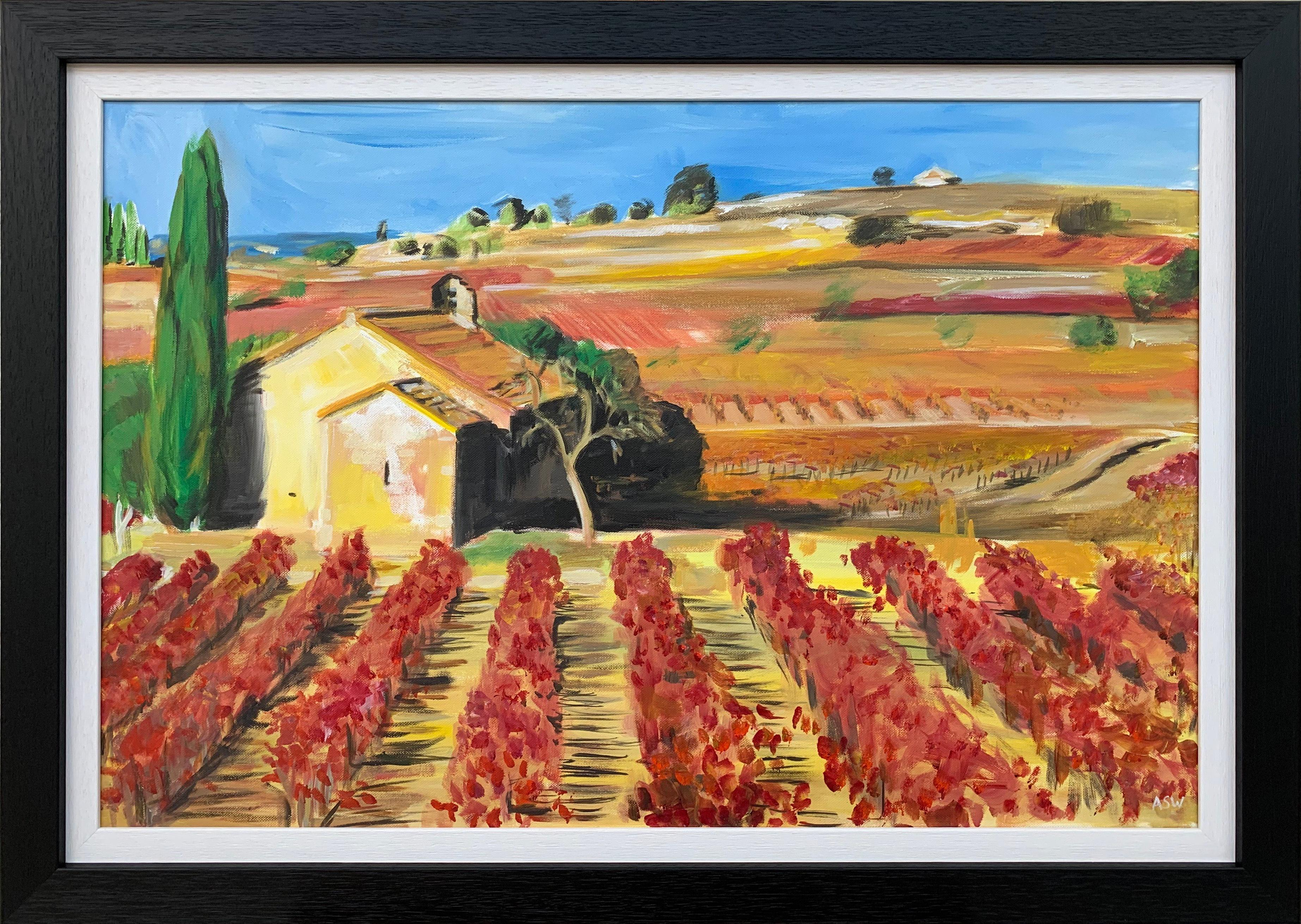Painting of Vineyard in Wine Growing Bordeaux France by Modern British Artist