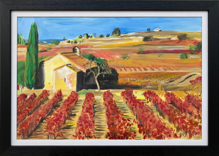 Painting of Vineyard in Wine Growing Bordeaux France by Modern British Artist - Mixed Media Art by Angela Wakefield