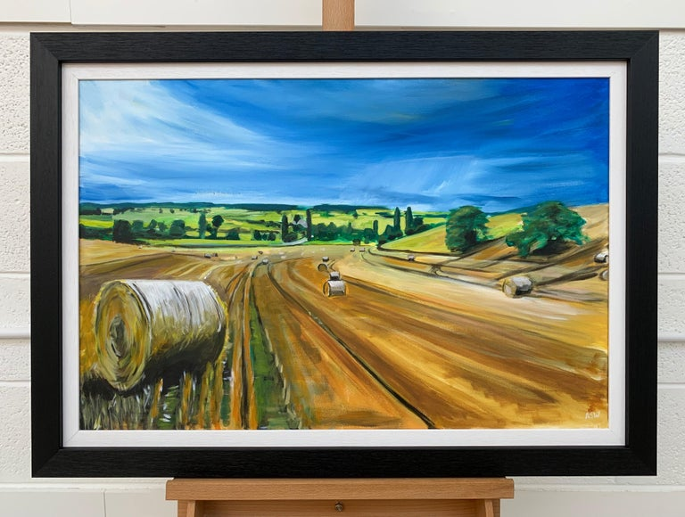 Original Painting of Wheat Field Harvest in Dordogne France by British Artist For Sale 1