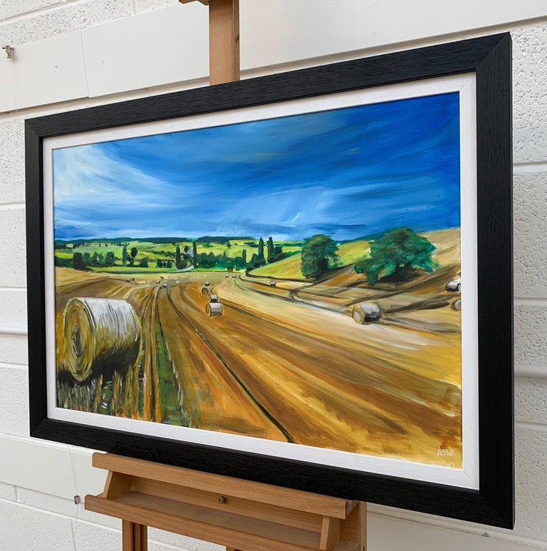 Original Painting of Wheat Field Harvest in Dordogne France by British Artist For Sale 2