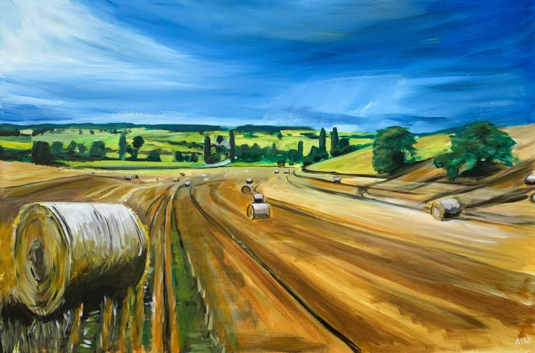 Original Painting of Wheat Field Harvest in Dordogne France by British Artist For Sale 3