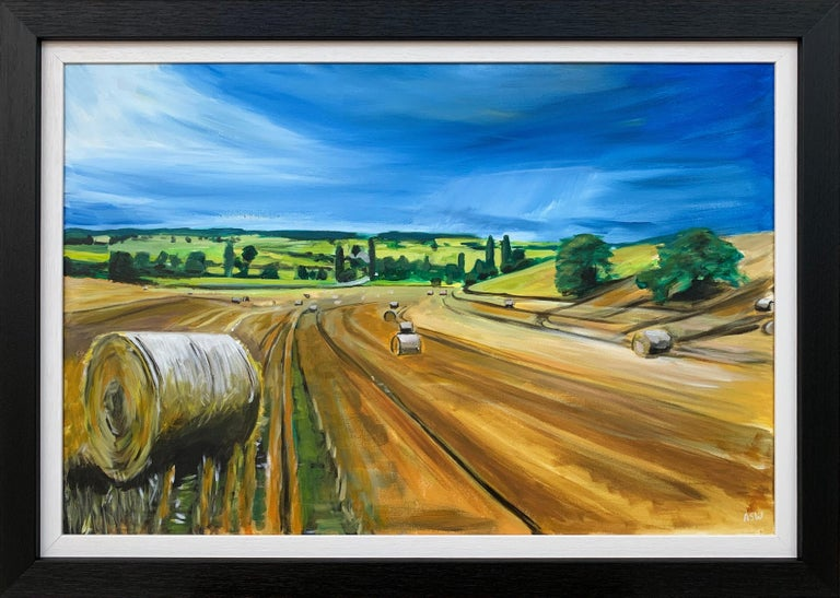 Angela Wakefield Landscape Painting - Original Painting of Wheat Field Harvest in Dordogne France by British Artist