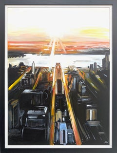 Painting of Aerial View of Manhattan Island New York City by English Artist