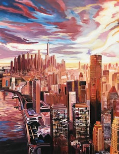 Painting of an Aerial View of Manhattan Island New York City by English Artist