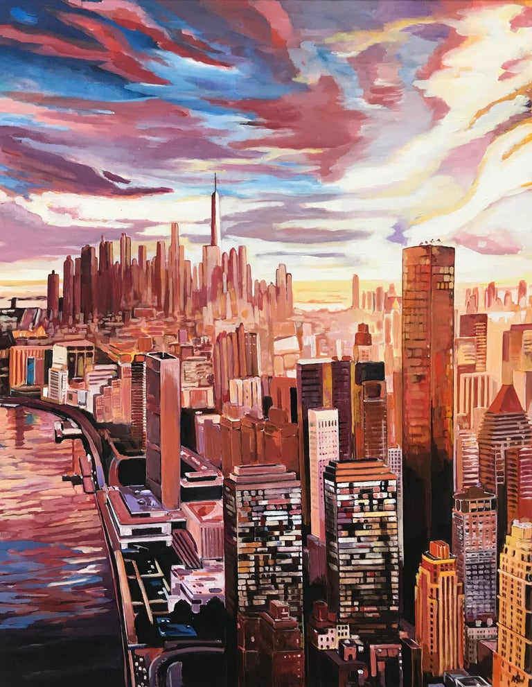 angela wakefield painting of an aerial view of manhattan island new york city by english. Black Bedroom Furniture Sets. Home Design Ideas