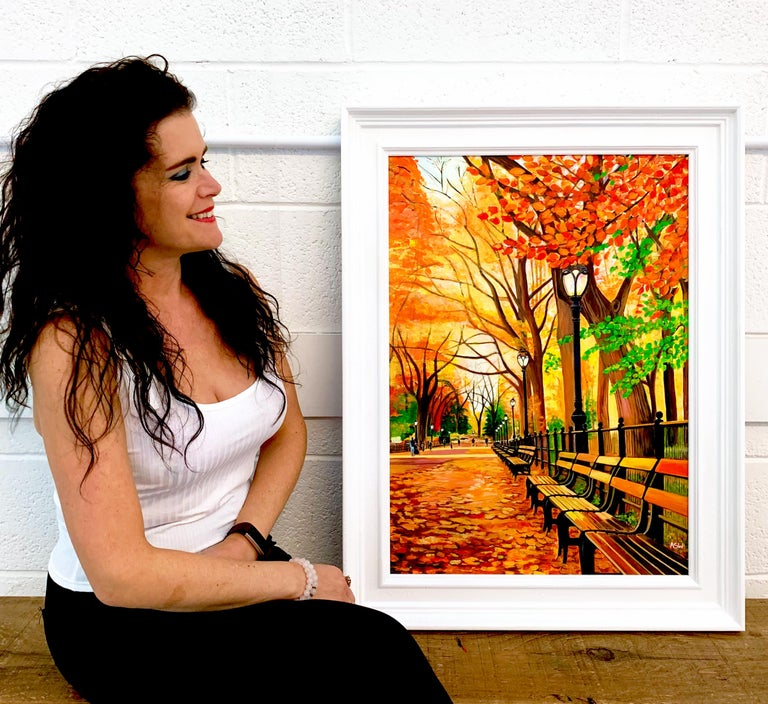 Painting of Central Park New York in Autumn Fall by Collectible British Artist For Sale 1