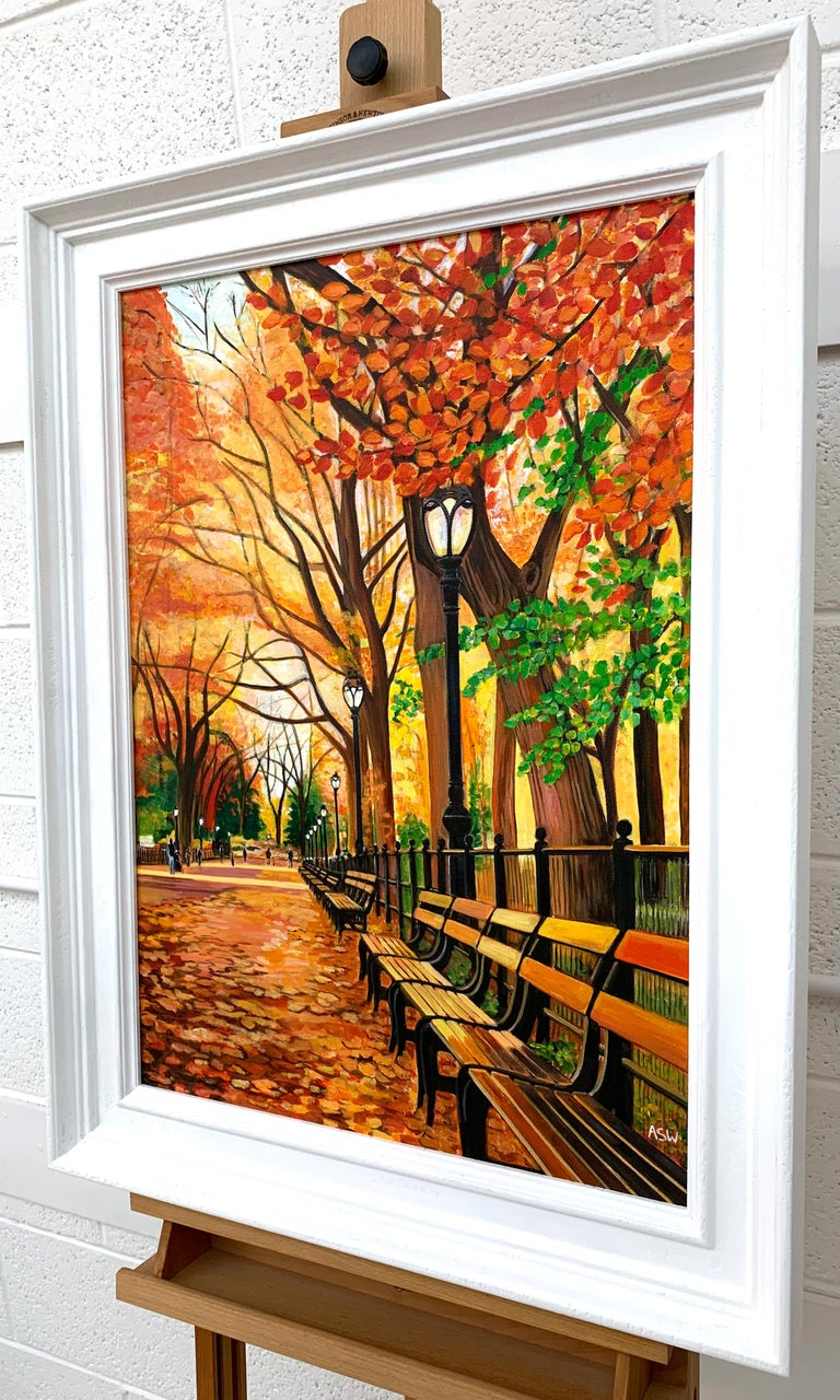 Painting of Central Park New York in Autumn Fall by Collectible British Artist For Sale 2