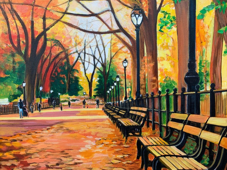 Painting of Central Park New York in Autumn Fall by Collectible British Artist For Sale 3
