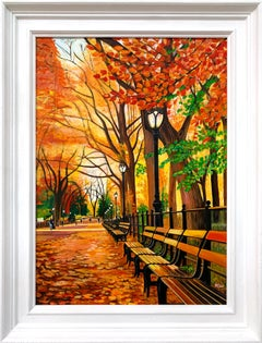 Painting of Central Park New York in Autumn Fall by Collectible British Artist