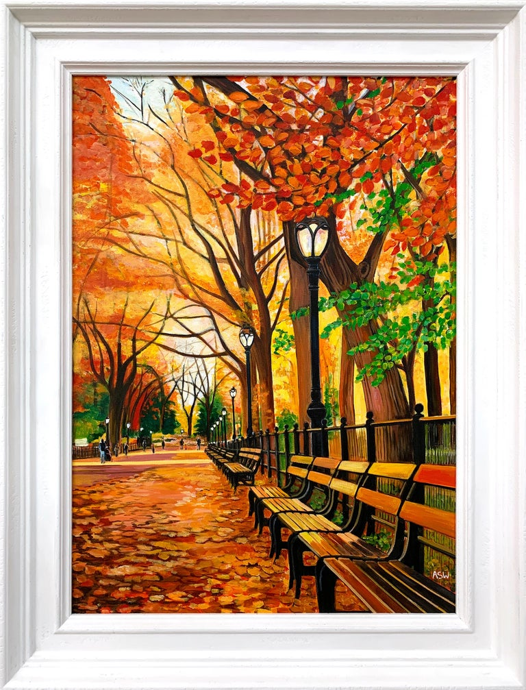 Angela Wakefield Landscape Painting - Painting of Central Park New York in Autumn Fall by Collectible British Artist