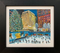 Painting of Christmas Ice Skaters at Rockefeller Rink New York by British Artist