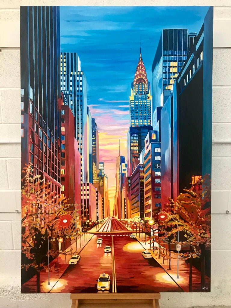 Painting of Chrysler Building 42nd Street New York by British Landscape Artist - Black Landscape Painting by Angela Wakefield