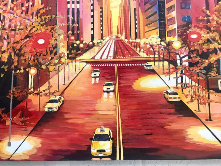 Painting of Chrysler Building 42nd Street New York by British Landscape Artist For Sale 1