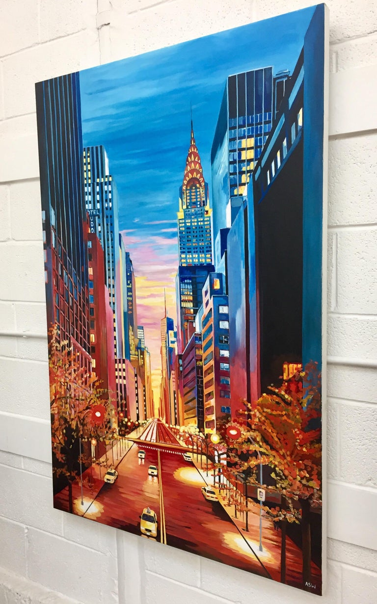 Painting of Chrysler Building 42nd Street New York by British Landscape Artist For Sale 2