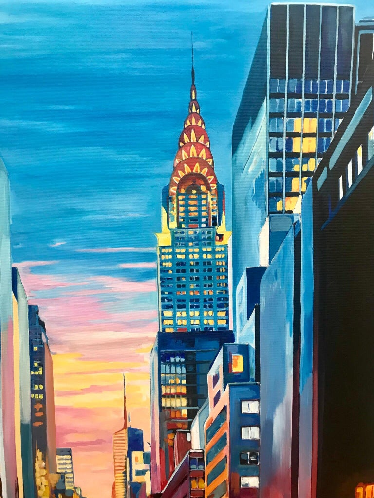 Painting of Chrysler Building 42nd Street New York by British Landscape Artist For Sale 3