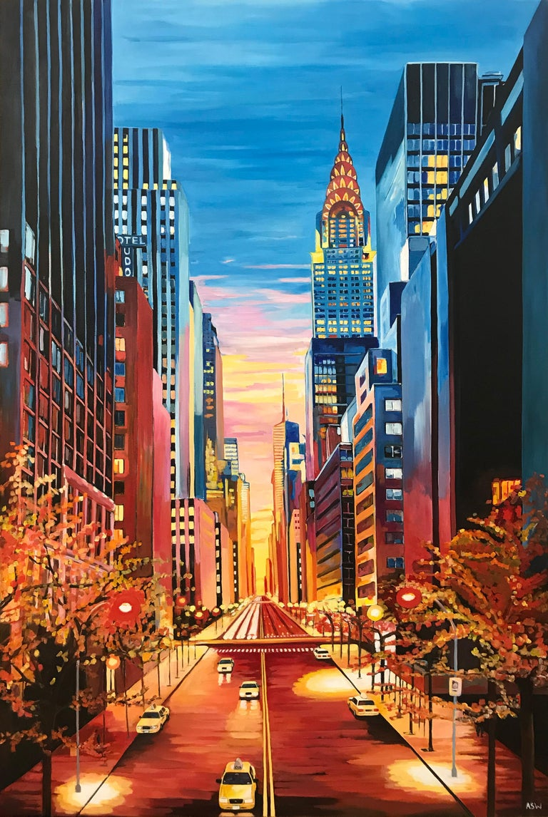 Angela Wakefield Landscape Painting - Large Painting of Chrysler Building New York City NYC by Leading British Artist