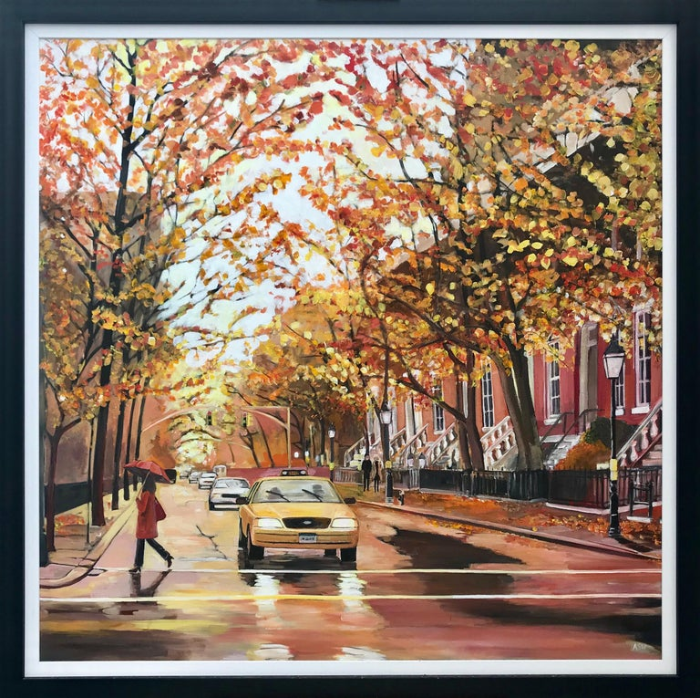 Angela Wakefield Landscape Painting - Painting of Greenwich Village Manhattan New York City NYC British Urban Artist