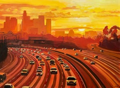 Painting of Los Angeles Sunset California by British Artist with Reds & Yellows