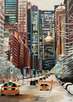 Painting of New York City Taxis in Winter Snow by Contemporary British Artist