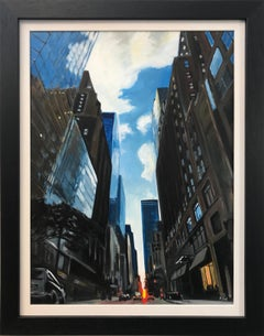 Painting of Summer Sunset in New York City by Leading British Urban Artist UK