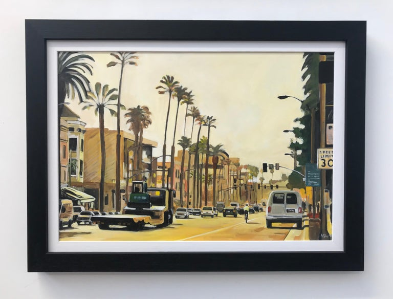 Painting of Sunset Boulevard Los Angeles USA by British Urban Landscape Artist For Sale 3