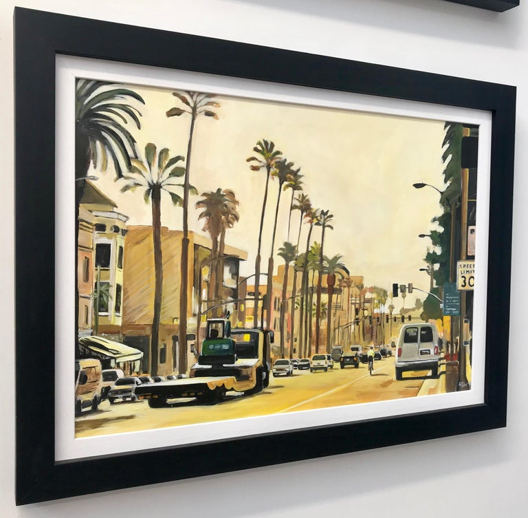 Painting of Sunset Boulevard Los Angeles USA by British Urban Landscape Artist For Sale 2