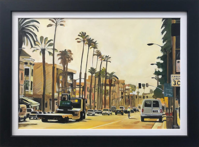 Painting of Sunset Boulevard in Los Angeles, California, by British Urban Landscape Artist Angela Wakefield. This painting is on high quality art board, painted in superior artist quality acrylic paint. Signed on the rear, initialled on the front,