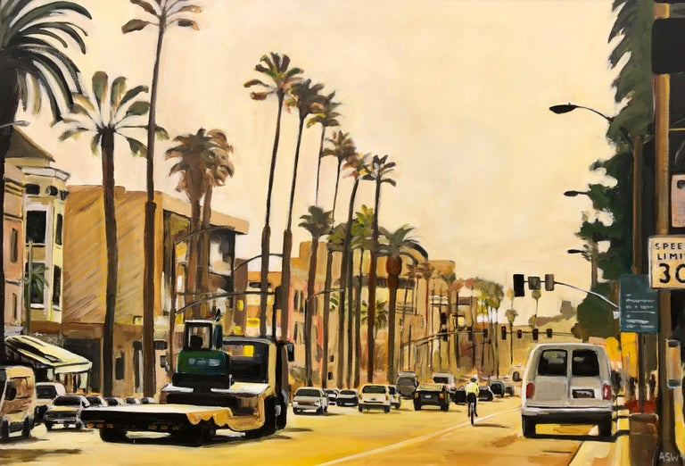 Painting of Sunset Boulevard Los Angeles USA by British Urban Landscape Artist For Sale 1
