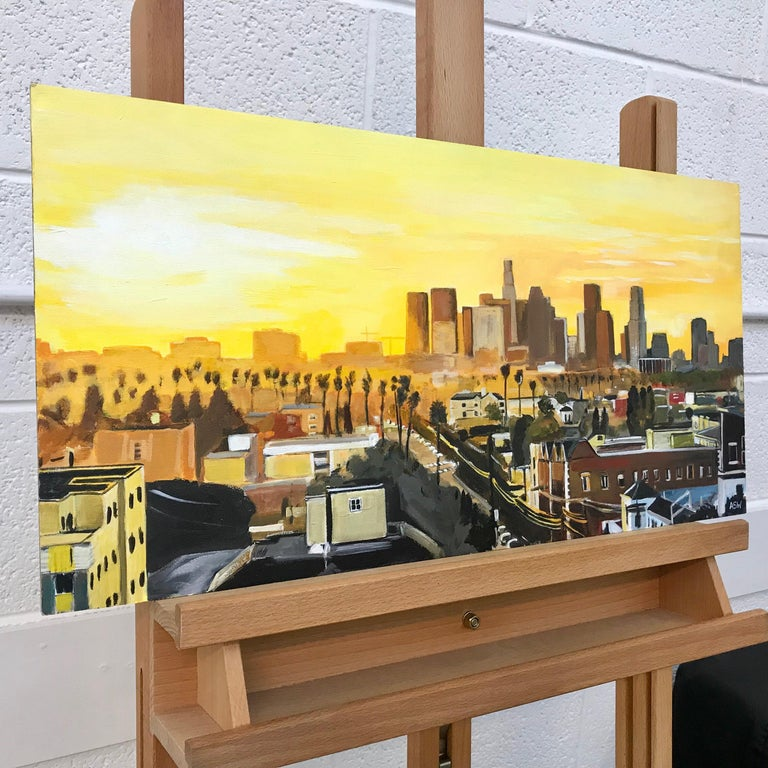 Painting of Sunset in Los Angeles California USA by British Landscape Artist For Sale 12