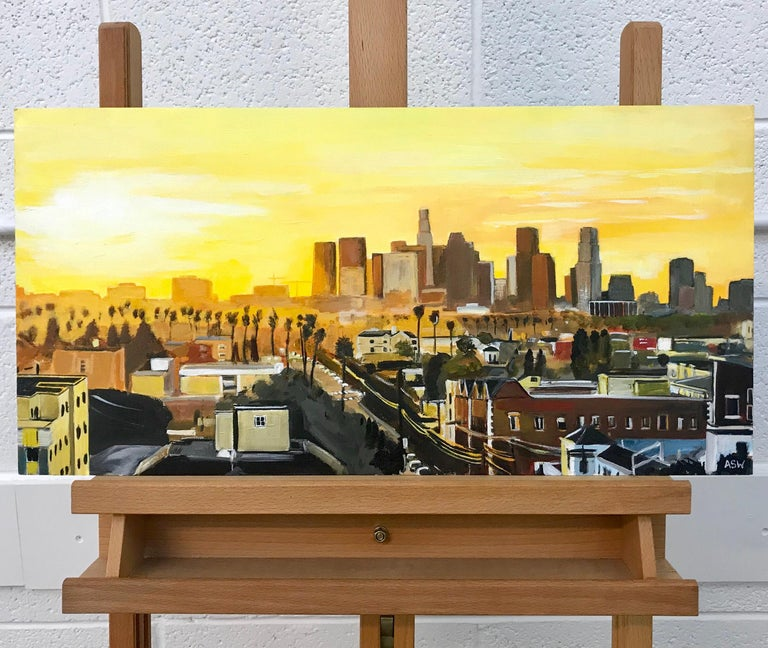 Painting of Sunset in Los Angeles California USA by British Landscape Artist For Sale 13