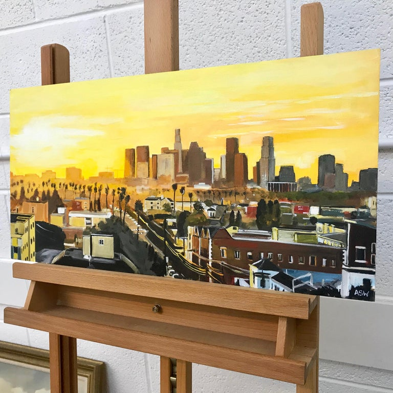 Painting of Sunset in Los Angeles California USA by British Landscape Artist For Sale 14