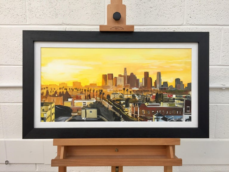 Painting of Sunset in Los Angeles California USA by British Urban Landscape Artist Angela Wakefield. This painting is on high quality art board, painted in superior artist quality acrylic paint. Signed on the rear, initialled on the front, with full