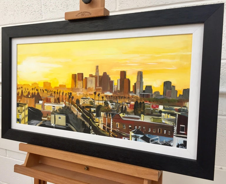 Painting of Sunset in Los Angeles California USA by British Landscape Artist For Sale 1
