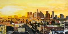 Painting of Sunset in Los Angeles California USA by British Landscape Artist