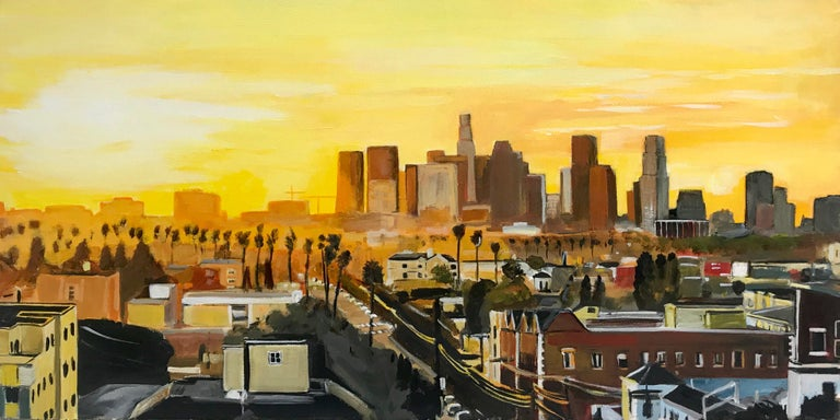 Angela Wakefield Landscape Painting - Painting of Sunset in Los Angeles California USA by British Landscape Artist