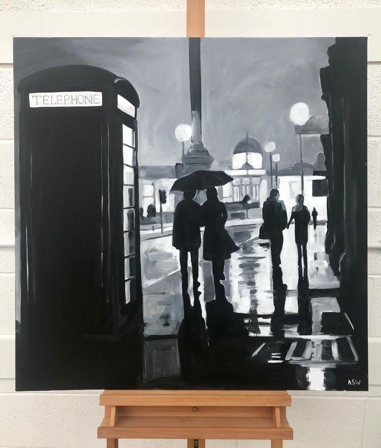 Painting of Trafalgar Square Rain London City by British Urban Landscape Artist - Black Figurative Painting by Angela Wakefield