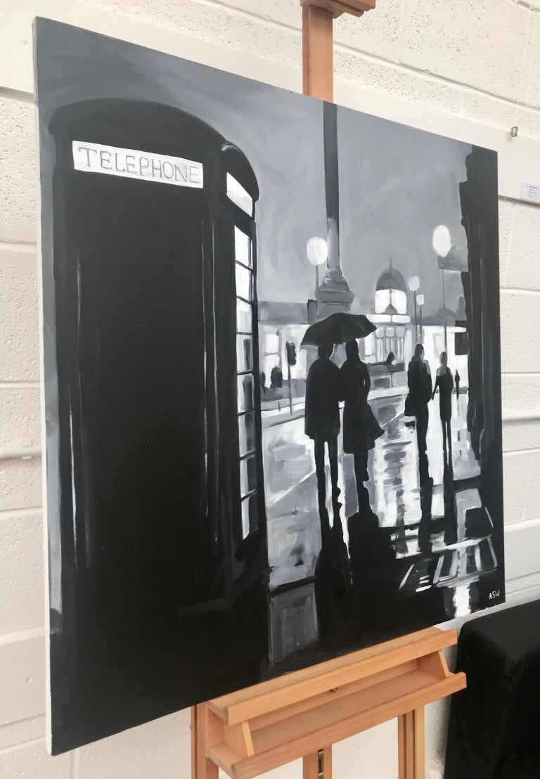 Trafalgar Square, London - Cityscape Art by British Urban Landscape Artist Angela Wakefield. This black and white painting of Trafalgar Square in London is part of the London Collection. The wet pavements provide the perfect conditions for the