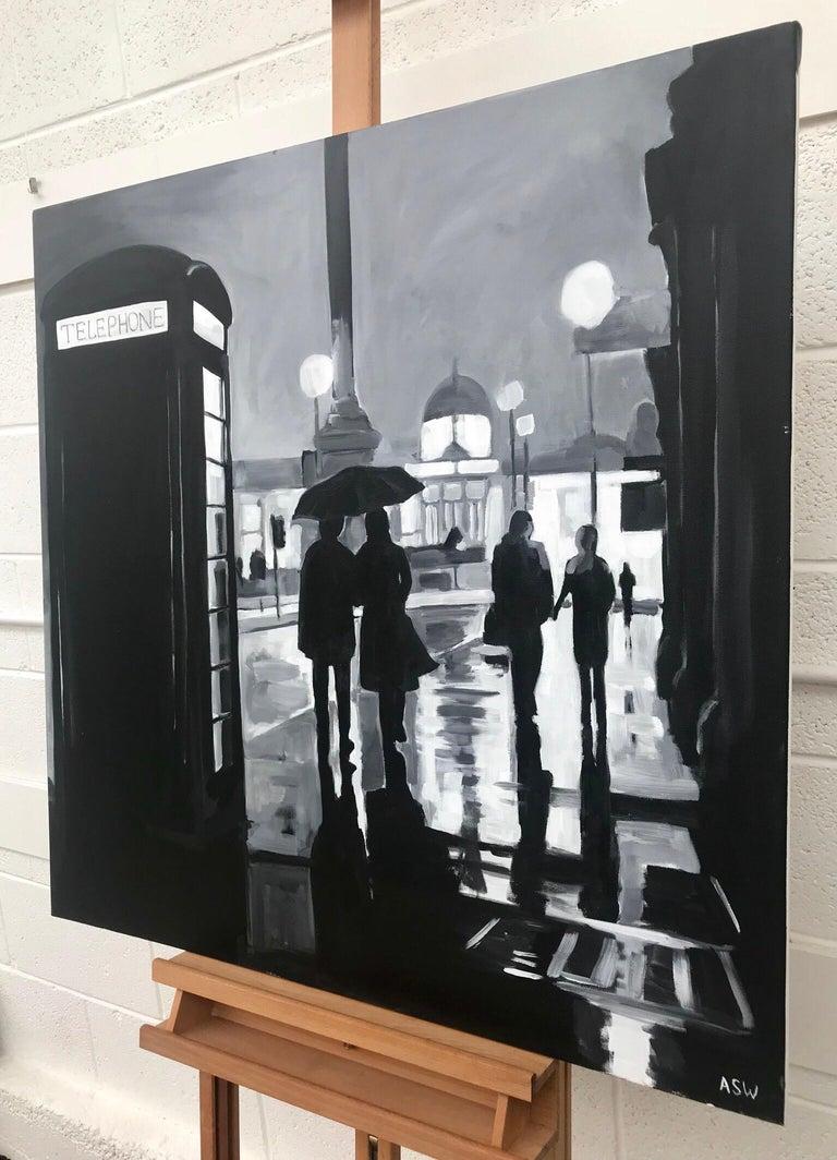 Painting of Trafalgar Square Rain London City by British Urban Landscape Artist For Sale 1