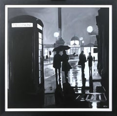 Painting of Trafalgar Square Rain London City by British Urban Landscape Artist