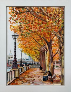 Painting of Victoria Embankment London in Autumn by Collectible British Artist