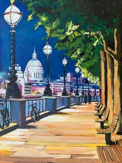 Painting of Victoria Embankment with St Paul's London by British Urban Artist