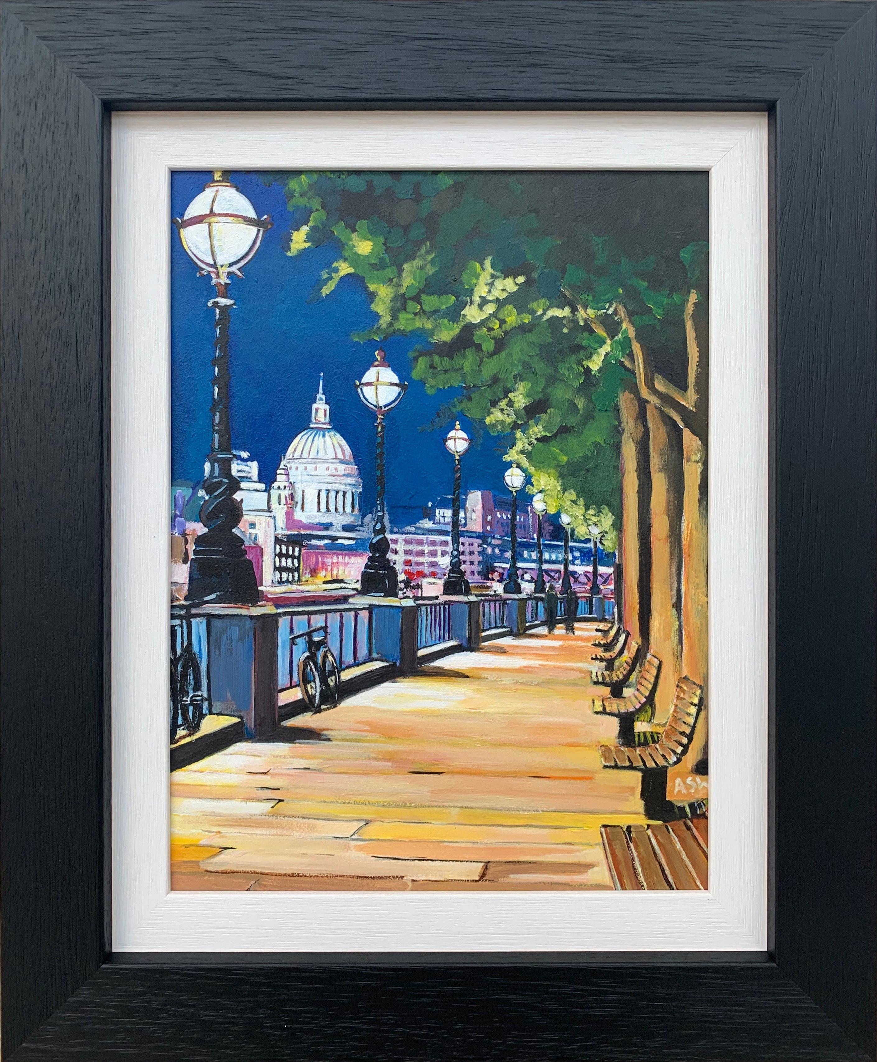 Painting of Victoria Embankment & St Paul's London City by British Urban Artist