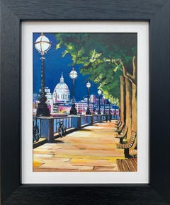 Painting of Victoria Embankment & St Paul's London City by British Urban Artist