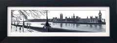 Panoramic Black & White Painting of Westminster Victoria Embankment London City