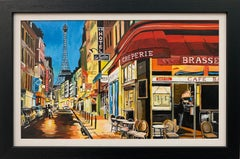 Paris Café with Eiffel Tower France Painting by British Urban Landscape Artist